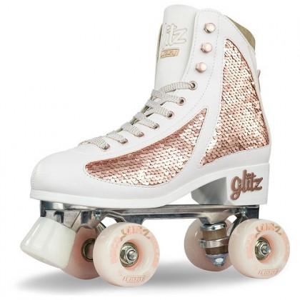 Crazy Disco Glitz Rose Gold Quad Roller Paten